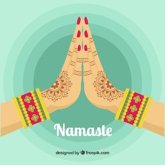Namaste Hintergrund mit Begrüßung im flachen Design