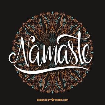 Namaste Schriftzug mit Hand gezeichneten Mandala