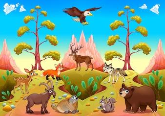 Nette Berg Tiere in der Natur Vektor Cartoon Illustration