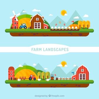Nette flache Bauernhoflandschaft