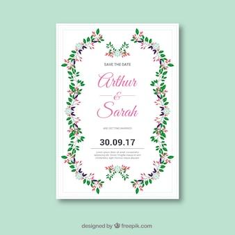 Nette Hochzeitseinladung mit Blumenart