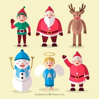 Nette Packung mit flachen Weihnachtsfiguren