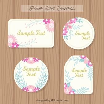 Nette Sammlung von Blumen-Etiketten in Pastellfarben