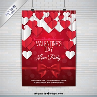 Nette weiße und rote Herzen Valentinsgruß-Plakat
