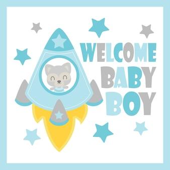 Netter Baby-Waschbär in der Rakete vektor-Karikaturillustration für Babyparty-Kartenentwurf, Postkarte und Tapete