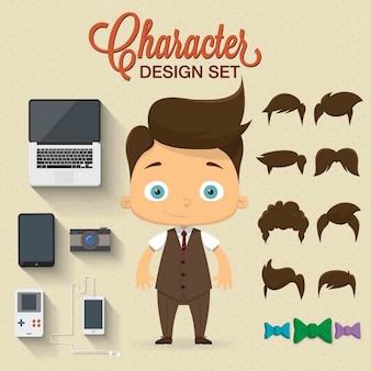 Netter Charakter-Design mit Elementen