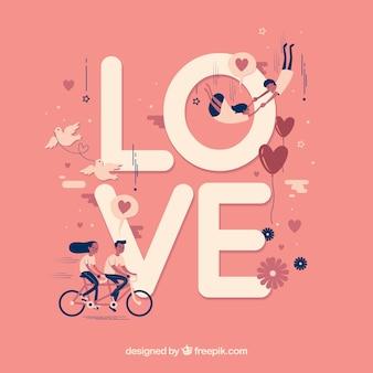 """Netter Hintergrund des Wortes """"Liebe"""" mit schönen Paar"""
