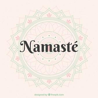 Netter Hintergrund von Namaste mit Mandalakizze