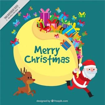 Netter Hintergrund von Santa Claus und Rentier mit Geschenken