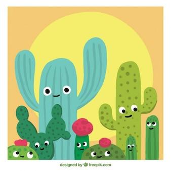 Netter Kaktus flaches Design