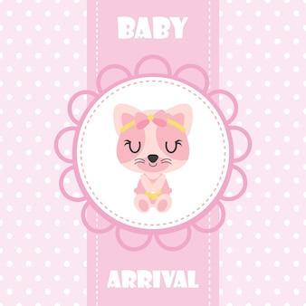 Nettes Babykätzchen im Babykarrevektor-Karikaturillustration für Babyparty-Kartenentwurf, Kindt-shirt Entwurf und Tapete