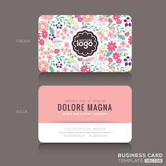 Nettes Blumenmuster Visitenkarte Visitenkarte Design-Vorlage
