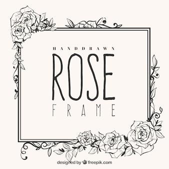 Nettes Gestell aus handgezeichneten Rosen