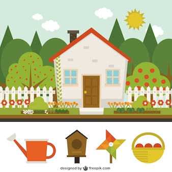 haus garten vektoren, fotos und psd dateien   kostenloser download, Garten und bauen