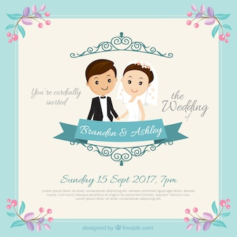 Nettes Paar Hochzeitseinladung