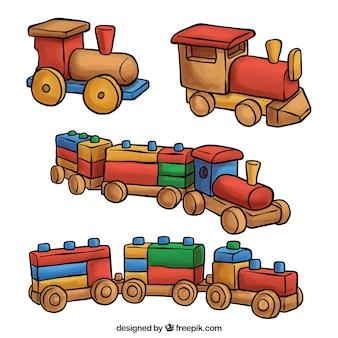 Nettes Set von Spielzeugzügen