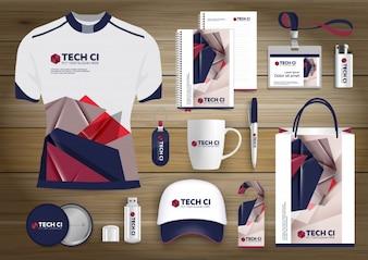 Netzwerk-Geschenkartikel, Farbe Werbeartikel Souvenirs Design für Link Corporate Identity mit Technologie-Linien. Briefpapier-Set, digitale Tech-Vorlage Mock Up