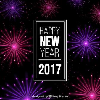Neue Jahr Feuerwerk Hintergrund in lila und rosa Tönen