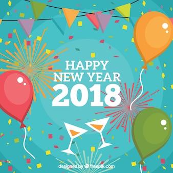 Neujahr Hintergrund mit Ballons