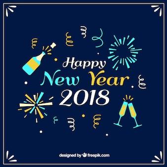 Neujahr Hintergrund mit Spaß Elemente