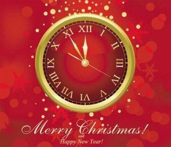 Neujahr Uhr festliche Vektor in Gold und Rot