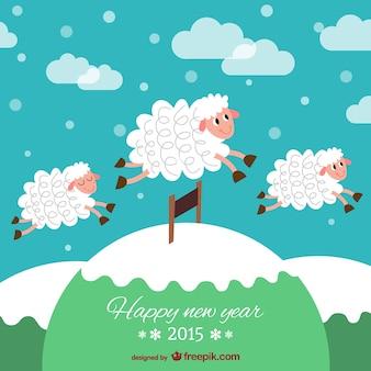 Neujahrskarte mit Schafen