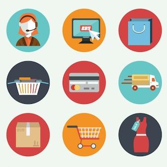 Neun flache Elemente über E-Commerce
