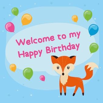 Niedliche glückliche Geburtstagskarte mit Fuchs. Vektor-Illustration