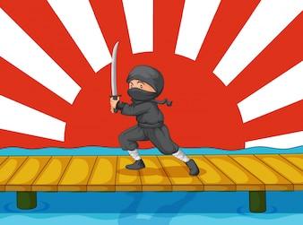Ninja-Karikatur
