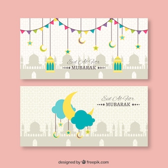 Nizza eid al fitr Banner in flachem Design