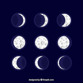 Nizza Mondkalender in flachem Design