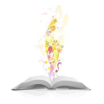 Offenes Buch mit abstrakten Formen