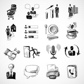 Office Business Skizze Symbole Set mit Teetasse Handshake Diagramm isoliert Vektor-Illustration