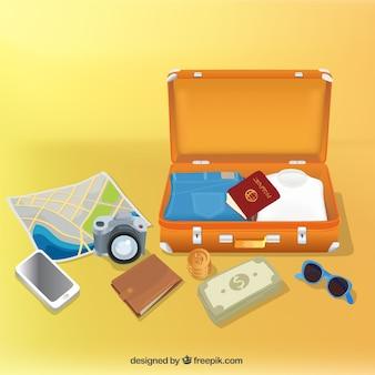Öffnen Sie Gepäck mit Reise Elemente
