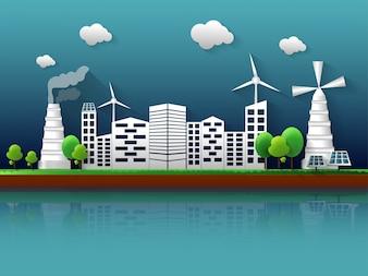 Ökologie-Konzept mit Blick auf die Stadt.
