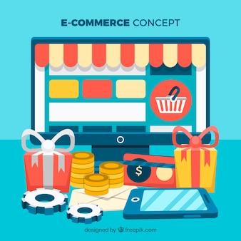 Online-Shop auf dem Bildschirm und Geschenk-Boxen