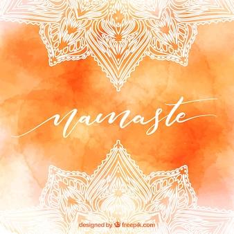 Orange Aquarell Hintergrund der Namaste