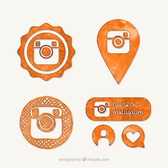 Orange Aquarell instagram Symbole