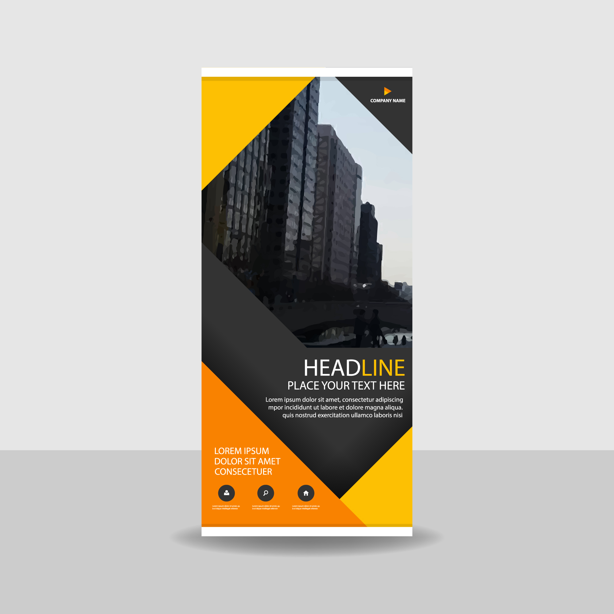 Orange Dreieck kreative Roll up Banner Vorlage