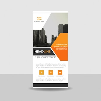 Orange Schwarz kreative Banner-Vorlage Roll up