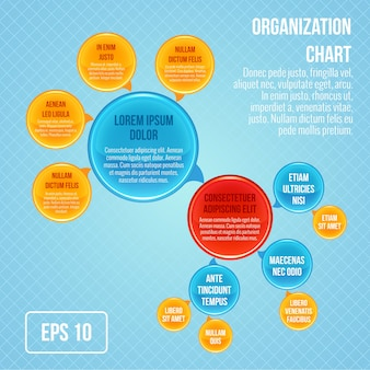 Organigramm Infografik Business Blasen Kreis Arbeit Struktur Vektor-Illustration