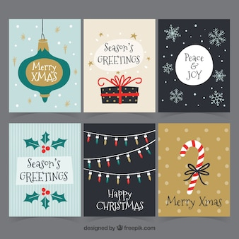 Original-Packung von Hand gezeichneten Weihnachtskarten