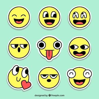 Original Satz von Emoticons Aufkleber