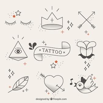 Original-Tattoos Elemente in linearen Stil