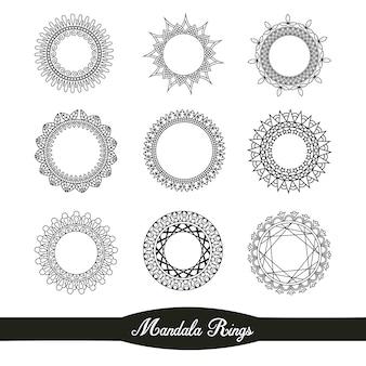 Ornamental Mandala Ringe Sammlung
