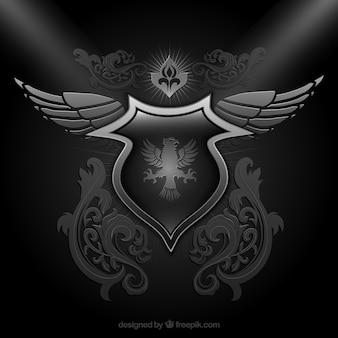Ornamental shield in schwarzer Farbe