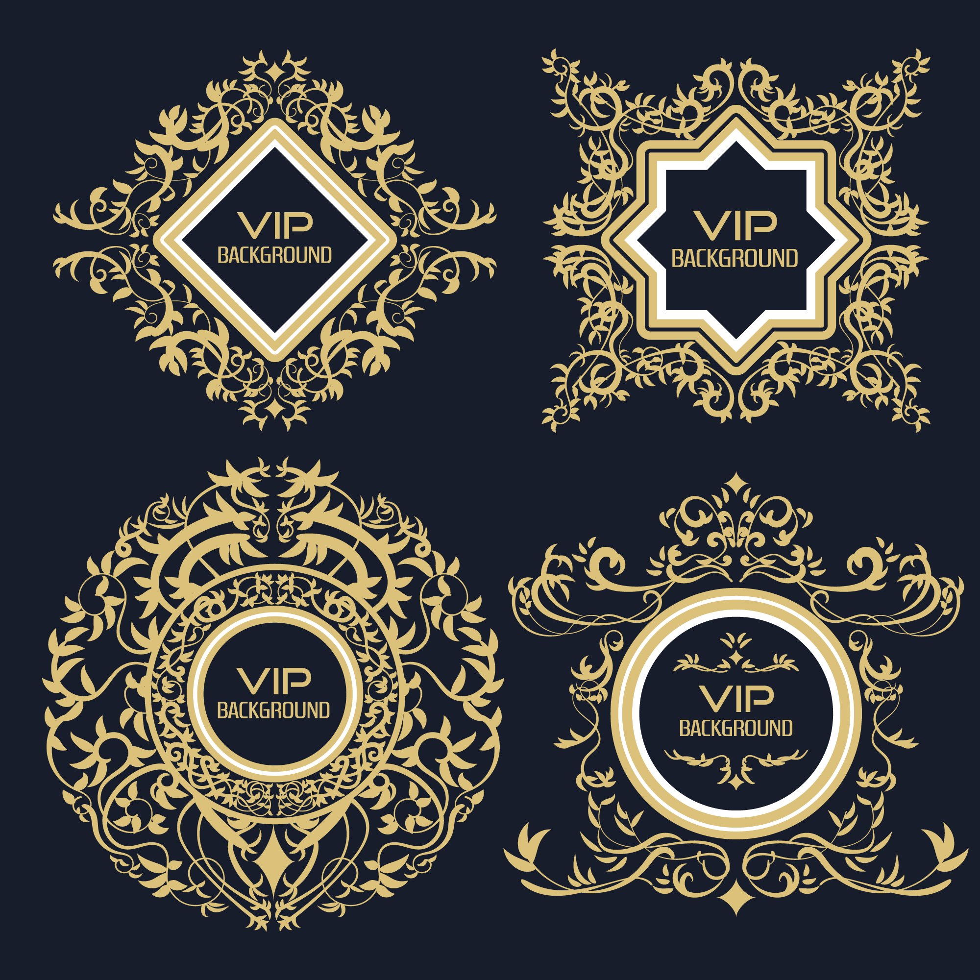 Ornamentale goldene Logo-Kollektion