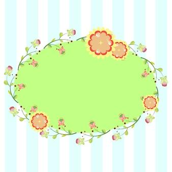 Ovaler Rahmen mit floralen Elementen, Vorlage für Einladung, Postkarte