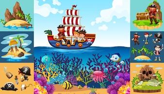 Ozean-Szenen mit Piraten auf dem Schiff