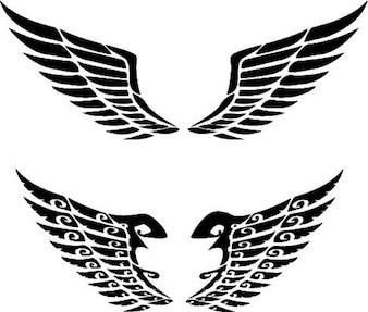 Paar ausgebreiteten Flügeln Designs